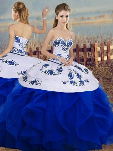 Classical Tulle Sleeveless Floor Length Sweet 16 Quinceanera Dress and Embroidery and Ruffles and Bowknot