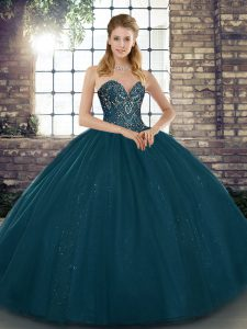 Fitting Teal Sleeveless Beading Floor Length Sweet 16 Quinceanera Dress