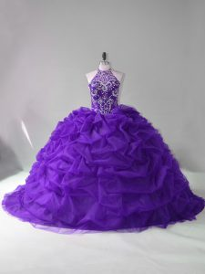 Classical Purple 15th Birthday Dress Sweet 16 and Quinceanera with Beading and Pick Ups Strapless Sleeveless Court Train Lace Up