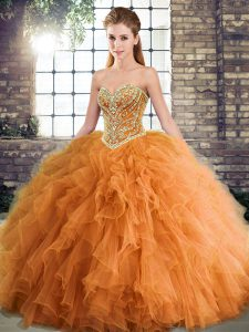 Tulle Sweetheart Sleeveless Lace Up Beading and Ruffles Vestidos de Quinceanera in Orange