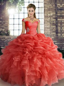 Floor Length Lace Up Quinceanera Gowns Orange Red for Military Ball and Sweet 16 and Quinceanera with Beading and Ruffles and Pick Ups