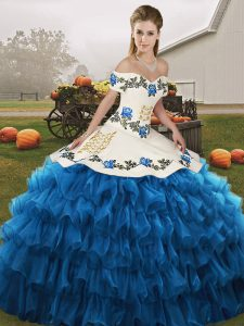 Fitting Blue And White Ball Gowns Off The Shoulder Sleeveless Organza Floor Length Lace Up Embroidery and Ruffled Layers Quinceanera Gowns