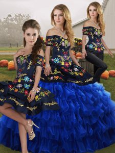 Blue And Black Off The Shoulder Neckline Embroidery and Ruffled Layers Quinceanera Dress Sleeveless Lace Up
