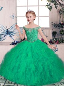 Green Ball Gowns Beading Pageant Dress Wholesale Lace Up Tulle Sleeveless Floor Length