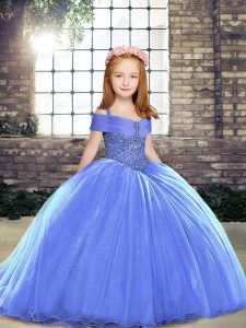 Attractive Blue Ball Gowns Tulle Straps Sleeveless Beading Lace Up Pageant Gowns For Girls Brush Train