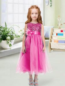 Exquisite Tea Length Empire Sleeveless Rose Pink Toddler Flower Girl Dress Zipper