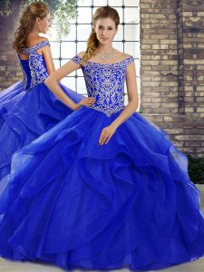 Amazing Ball Gowns Sleeveless Royal Blue Quinceanera Dress Brush Train Lace Up