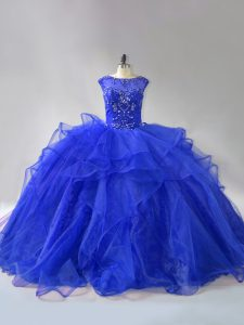 Royal Blue Lace Up Ball Gown Prom Dress Beading and Ruffles Sleeveless Brush Train