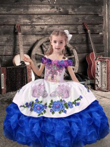 Amazing Floor Length Royal Blue Little Girls Pageant Gowns Organza Sleeveless Beading and Embroidery and Ruffles
