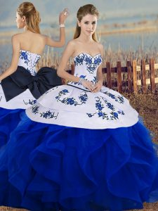 Clearance Royal Blue Sleeveless Floor Length Embroidery and Ruffles and Bowknot Lace Up 15 Quinceanera Dress