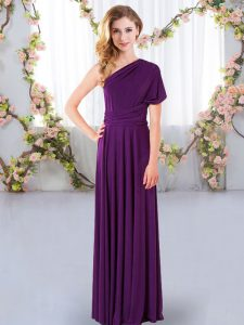Sweet Empire Vestidos de Damas Purple One Shoulder Chiffon Sleeveless Floor Length Criss Cross