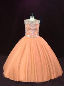 Lovely Floor Length Lace Up Quinceanera Dresses Peach for Sweet 16 and Quinceanera with Beading
