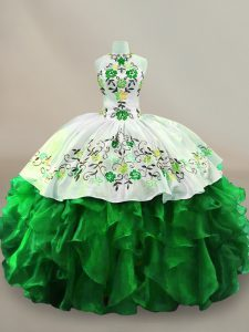 Green Organza Lace Up Halter Top Sleeveless Floor Length Quinceanera Gown Embroidery and Ruffles