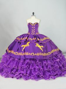 Sweetheart Sleeveless Brush Train Lace Up Quinceanera Gowns Purple Satin and Organza