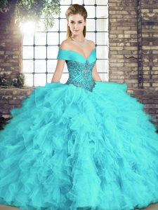 Fine Floor Length Aqua Blue Sweet 16 Dresses Tulle Sleeveless Beading and Ruffles