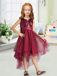 Lovely Scoop Sleeveless Zipper Toddler Flower Girl Dress Burgundy Organza