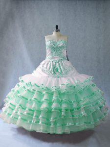 Edgy Apple Green Lace Up Quinceanera Gown Embroidery and Ruffled Layers Sleeveless Floor Length