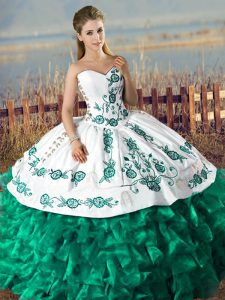 Lovely Sleeveless Floor Length Embroidery and Ruffles Lace Up Quinceanera Dresses with Green