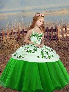 Sleeveless Embroidery Floor Length Little Girl Pageant Gowns