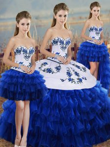 Admirable Sleeveless Embroidery and Ruffled Layers and Bowknot Lace Up Vestidos de Quinceanera