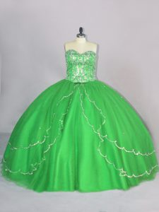 Ideal Sleeveless Brush Train Beading Lace Up Sweet 16 Quinceanera Dress