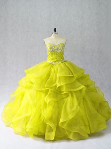Yellow Green Ball Gowns Organza Sweetheart Sleeveless Beading and Ruffles Floor Length Lace Up Ball Gown Prom Dress