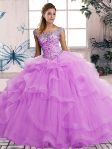 Discount Beading and Ruffles Sweet 16 Dresses Lilac Lace Up Sleeveless Floor Length