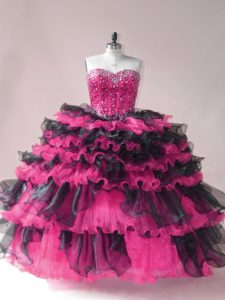 Sleeveless Beading and Ruffled Layers Lace Up Sweet 16 Dresses