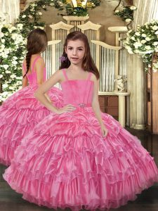 Low Price Straps Sleeveless Organza Little Girl Pageant Gowns Ruffled Layers Lace Up