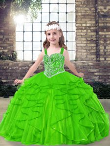 Ball Gowns Tulle Straps Sleeveless Beading and Ruffles Floor Length Side Zipper Little Girl Pageant Gowns