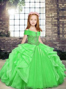 New Style Girls Pageant Dresses Party and Wedding Party with Beading and Ruffles Straps Sleeveless Lace Up