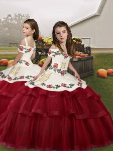 Wine Red Lace Up Kids Formal Wear Embroidery Sleeveless Floor Length