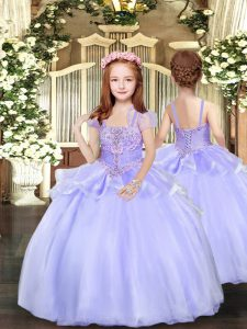 Floor Length Lavender Custom Made Pageant Dress Organza Sleeveless Beading