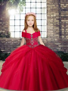 Red Ball Gowns Beading Little Girl Pageant Dress Lace Up Tulle Sleeveless Floor Length