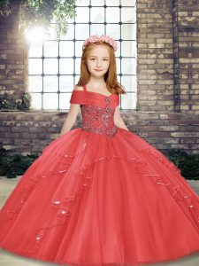 Tulle Straps Sleeveless Lace Up Beading and Ruffles Girls Pageant Dresses in Coral Red