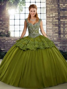 Adorable Olive Green Straps Lace Up Beading and Appliques Sweet 16 Quinceanera Dress Sleeveless