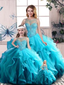 Tulle Scoop Sleeveless Lace Up Beading and Ruffles Quinceanera Dresses in Aqua Blue