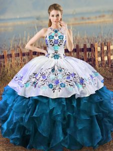 Blue And White Ball Gowns Organza Halter Top Sleeveless Embroidery Floor Length Lace Up Quinceanera Gowns