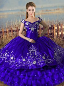 Embroidery and Ruffled Layers Sweet 16 Dresses Purple Lace Up Sleeveless Floor Length