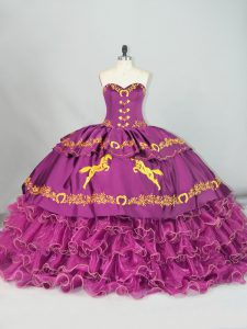 Purple Vestidos de Quinceanera Sweetheart Sleeveless Brush Train Lace Up