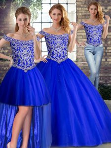 Latest Sleeveless Tulle Brush Train Lace Up Quince Ball Gowns in Royal Blue with Beading