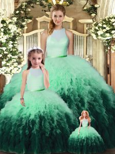 Colorful Sleeveless Backless Floor Length Ruffles Sweet 16 Quinceanera Dress
