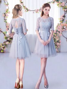 Latest Grey Empire Tulle Scoop Half Sleeves Lace Mini Length Lace Up Dama Dress for Quinceanera