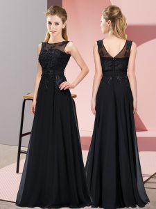 Fashion Black Chiffon Zipper Scoop Sleeveless Floor Length Quinceanera Court of Honor Dress Beading and Appliques
