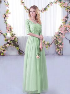Half Sleeves Tulle Floor Length Side Zipper Dama Dress in Apple Green with Lace and Belt