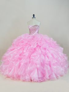 Most Popular Organza Sweetheart Sleeveless Lace Up Beading and Ruffles Vestidos de Quinceanera in Baby Pink