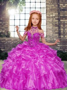 Floor Length Lace Up Child Pageant Dress Lilac for Party and Military Ball and Wedding Party with Beading and Ruffles