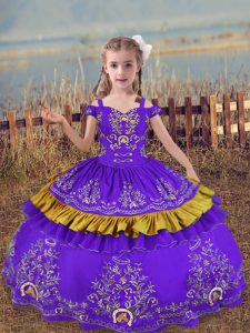 Best Floor Length Lavender Little Girls Pageant Dress Satin Sleeveless Beading and Embroidery