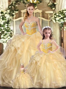 Beading and Ruffles Vestidos de Quinceanera Champagne Lace Up Sleeveless Floor Length