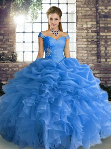 Beautiful Sleeveless Organza Floor Length Lace Up 15 Quinceanera Dress in Blue with Beading and Ruffles and Pick Ups